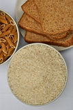 Rice, bread and pasta Royalty Free Stock Photo