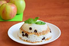 Rice breakfast. With apple raisins and mint Stock Images
