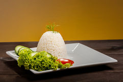 rice on brown plate Royalty Free Stock Photos