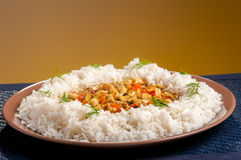 Rice on brown plate Royalty Free Stock Photography