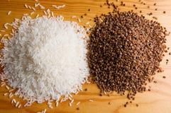 Rice and buckwheat Stock Photos