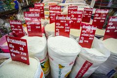 Rice in Bulk. Bangkok/Thailand - January 4, 2015: Khlong Toei Market in Bangkok Thailand on a busy day with grains and rice for sale in bulk stock photography