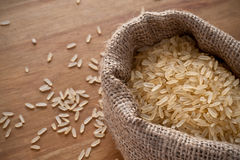 Rice burlap sack Royalty Free Stock Photography