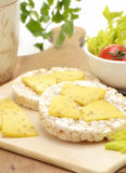 Rice cake cheese snack Royalty Free Stock Images