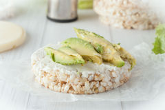 Rice cake with cream cheese and avocado Stock Image
