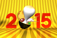Rice Cake And 2015 On Gold Stock Images
