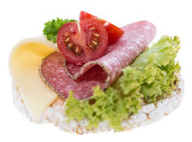 Rice Cake with Salami Royalty Free Stock Photo