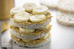 Rice cake sandwich with peanut butter Stock Photos