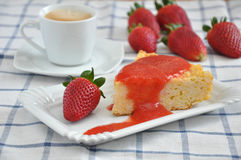 Rice Cake with Strawberries Royalty Free Stock Photography