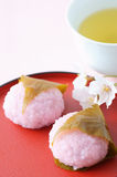 Rice cake wrapped in cherry leaf Stock Photography