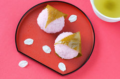 Rice cake wrapped in cherry leaf. Japanese traditional sweets for spring Royalty Free Stock Image