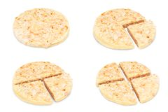 Rice cakes. Four, divided, rice cakes isolated on white stock photo