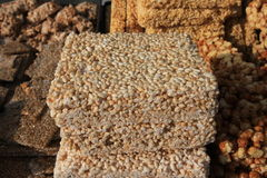 Rice cakes. Pile of rice cake on sale Stock Images