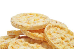 Rice cakes. Closeup of a pile of rice cakes on a white background Stock Photos