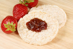 Rice cakes with jam Stock Photography