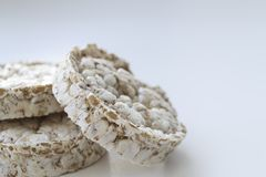 Rice cakes on light background royalty free stock photography