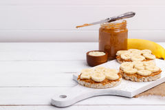 Rice cakes with peanut butter Stock Photo