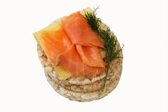 Rice cakes with salmon Stock Images