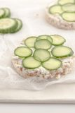 Rice cakes with sliced cucumbers Royalty Free Stock Photo