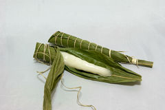 Rice cakes wrapped in leaves of bamboo on the Children's day royalty free stock photo