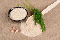 Rice on the canvas Royalty Free Stock Photo