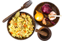 Rice with carrots, chicken and spices Royalty Free Stock Photo