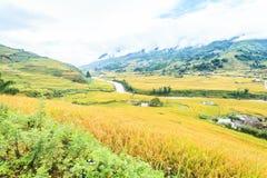 Rice chałupa w górach i tarasy fotografia royalty free