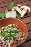 Rice with Champignon mushroom. Typical dish of traditional Italian cuisine Stock Photos