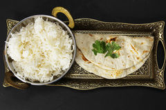 Rice and Chapati Royalty Free Stock Image