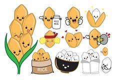 Rice character vector illustration stock illustration