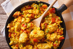 Rice with chicken ain a frying pan closeup. horizontal top view Royalty Free Stock Images