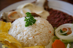 Rice with chicken, beans and salad. From Nicaraguan cuisine royalty free stock photos