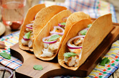 Rice chicken cilantro tacos. On wood background. toning. selective focus stock photo