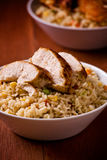 Rice And Chicken Stock Photo