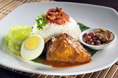 Rice with chicken curry. A plate of rice served with chicken curry and boiled egg Stock Photos