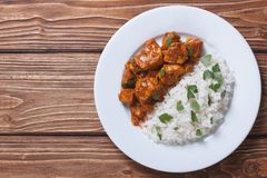 Rice with chicken in curry sauce top view Stock Photography