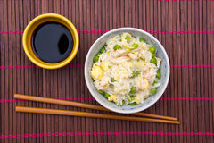 Rice with chicken and eggs on the placemat from above Royalty Free Stock Images
