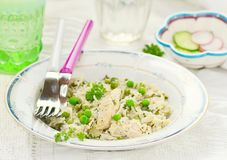 Rice with chicken and green pea Royalty Free Stock Photo