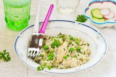 Rice with chicken and green pea Royalty Free Stock Photos