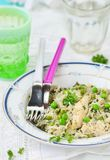 Rice with chicken and green pea Stock Images