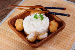 Rice with chicken meat on bamboo mat Stock Images