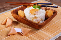 Rice with chicken meat and fortune cookie Royalty Free Stock Photo