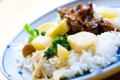 Rice with chicken in pepper sauce Stock Images