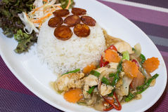 Rice Chicken Sausage food Thailand Stock Image