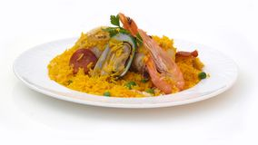 Rice with chicken and seafood Stock Photography