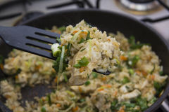 Rice with chicken on spatula Stock Photos