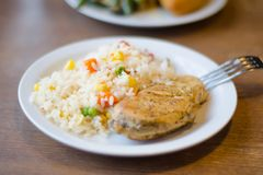 Rice with chicken steak on a plate stock photos