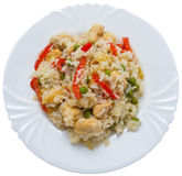 Rice with chicken and vegetable. Tasty rice with chicken and vegetable stock photos