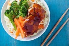 Rice Chicken And Vegetables Meal. Thai meal of chicken and some vegetables Royalty Free Stock Image