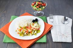 Rice with chicken and vegetables Stock Image